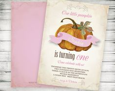 Our Little Pumpkin Invitation Pink  First Birthday by VGInvites