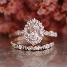 Bridal Set Vintage Floral Oval Morganite Engagement Ring and Scalloped Diamond Wedding Band in 14k… #bridalsetsvintage Morganite Engagement, Rose Gold Engagement Ring, Diamond Wedding Bands, Oval Engagement, Diamond Rings, Solitaire Diamond, Solitaire Rings, Morganite Ring, Oval Diamond