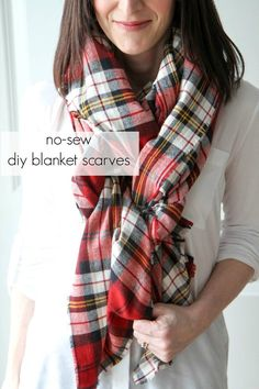 How to Make a Blanket Scarf from MomAdvice.com Blanket Scarf Outfit, How To Wear A Blanket Scarf, How To Wear Scarves, Plaid Blanket, Make A Scarf, No Sew Scarf, Tie Scarves, Plaid Scarf, Diy Plaid