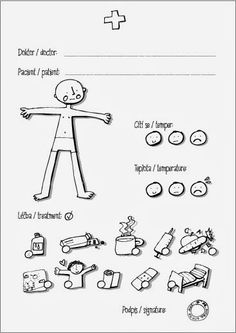 Pretend - Doctor printable sheet Z lesa Role Play Areas, Kindergarten, Signature, Doctor Office, Busy Bags, Dramatic Play, Sciatica, Imaginative Play, Pretend Play