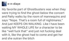 Yes! God yes that part was perfect! It's about time someone didn't walk into the room full of nightmares.
