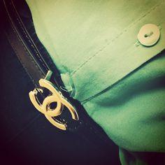 Chanel look riem zwart - goud