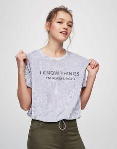 Pull&Bear - dames - kleding - t-shirts - velours t-shirt met tekst - licht lila - 05236358-V2017