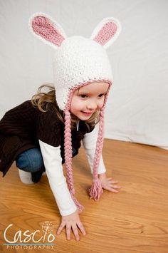 Crochet bunny hat.