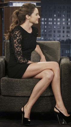 Shailene Woodley crossed legs in a little black dress and towering platform slingback high heels Shailene Woodley, Beautiful Celebrities, Beautiful People, Beautiful Legs, Gorgeous Dress, Beauty And Fashion, Angelina Jolie, Woman Crush, Mannequins