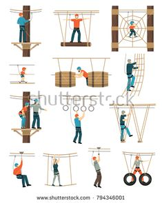 Stock Vector: Rope walk activity park set with flat isolated figures of people walking through ropewalk coarse obstructions vector illustration Diy Playground, Natural Playground, Playground Design, Kids Outdoor Play, Outdoor Play Spaces, Backyard For Kids, Outdoor Fun, Kids Play Spaces, Kids Play Area