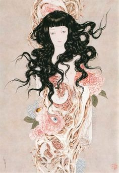 Por Takato Yamamoto Ero Guro, Japanese Artwork, Tattoo Photography, Creepy Art, Wow Art, Botanical Drawings, Horror Art, Yamamoto, Manga Art