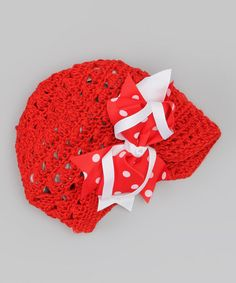 Take a look at this Red & White Kufi Beanie & Clip by Hair Bows Unlimited on #zulily today!