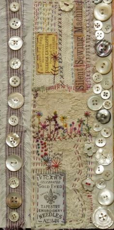 Sewing Vintage Sewing, vintage buttons and ephemera. - altered books and handmade books - embroidery - Sewing, vintage buttons and ephemera. - altered books and handmade books Source by gorfette Embroidery Art, Embroidery Stitches, Embroidery Patterns, Modern Embroidery, Vintage Embroidery, Crazy Quilting, Quilting Ideas, Button Art, Button Crafts