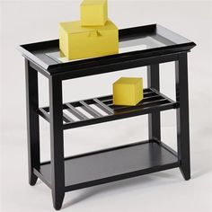 Sandpiper Contemporary Black Wood MDF Glass Chairside Table