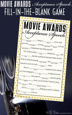 bnute productions: Free Printable Oscar Party Game: Acceptance Speech Fill-in-the-Blank Music Themed Parties, Music Party, Party Games, Theme Parties, Old Hollywood Party, Hollywood Birthday Parties, Hollywood Theme, Hollywood Crafts, Hollywood Classroom
