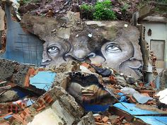 Street Art Awesome. The Distorted Street Faces of Andre Muniz Gonzaga. #StreetArt #Gonzaga