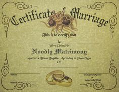 FSM Certificate of Marriage Pastafarian Flying by DocDesigners