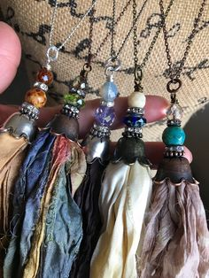Sari silk flower bell tassel/czech sari silk tassel/flower cap/sari silk tassel/U choose color/sari silk tassel necklace/rts - Dıy Jewelry Metal Ideen Ribbon Jewelry, Tassel Jewelry, Jewelry Crafts, Tassel Necklace, Beaded Jewelry, Handmade Jewelry, Gold Jewellery, Jewelry Ideas, Art Textile