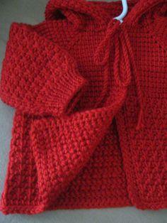 Jersey de bebé de ganchillo rojo con capucha para niño o niña
