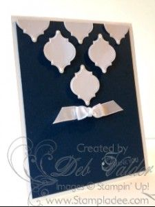 handmade card featuring Mosaic punches from Stampin' Up! ... luv the elegant look of white punched tiles on navy blue ... sweet white bow ... Stampin' Up!