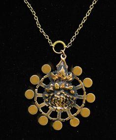 Flower Necklace, Gold Necklace, Pendant Necklace, Brutalist, Contemporary Jewellery, Finland, Vintage Jewelry, Pendants, Bronze
