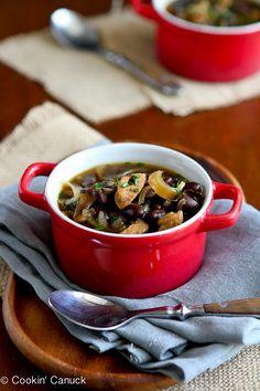 Light Sausage, Caramelized Onion & Bean Soup...A rich, hearty soup that's good for you. | cookincanuck.com #recipe
