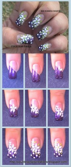 DIY - White flowers french ail art tutorial.