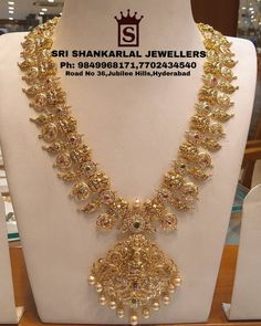 Exquisite Nakshi Long Haram Sets From Sri Shankarlal Jewellers Exquisite Nakshi Long Haram Sets From Sri Shankarlal Jewellers ~ South India Jewels - Popular Fashion Jewelry Pearl Necklace Designs, Jewelry Design Earrings, Gold Earrings Designs, Gold Jewellery Design, Silver Jewellery, Gold Haram Designs, Vaddanam Designs, Temple Jewellery, Gold Jewelry Simple