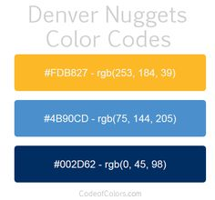 Denver Nuggets Team Color Codes