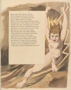 "Print made by William Blake, British, Young's Night Thoughts, Page ""The goddess bursts in thunder and in flame"", ca. William Blake Art, Pagan Poetry, Huntington Library, English Poets, Google Art Project, Color Copies, Visionary Art, Deities, Art Google"