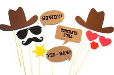 Amazon.com: Photo Booth Props - The Western Wedding Collection - Set of 10 Photobooth Props: Toys & Games