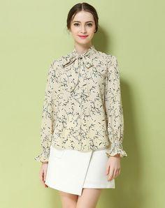 VIPme (VIPSHOP Global) - GUSTAVO ARANGO Beige Spring/Fall Turtleneck Floral Sweet Strappy Shirts - AdoreWe.com
