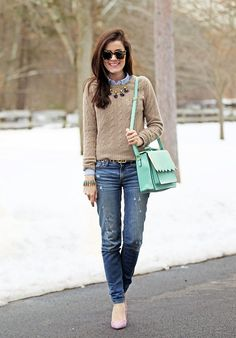 Love camel colored sweaters and blue |Classy Girls Wear Pearls