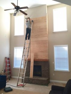 White Painted Stone & Shiplap Fireplace Makeover
