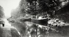 """Caption: """"Tug and wide boats at Paddington Stop on the Regent's Canal"""""""