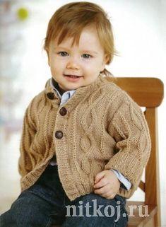 Нежный свитер спицами для мальчика