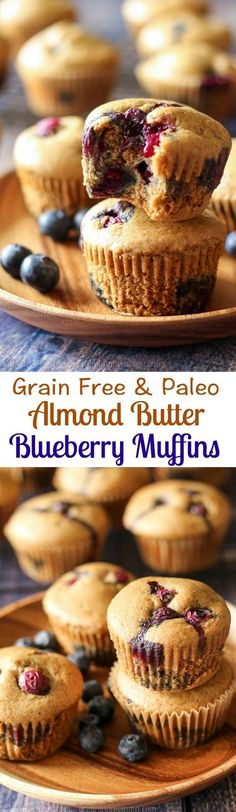 Simple Grain free and Paleo Blueberry muffins made with almond butter for awesome texture, flavor, and healthy fats!  Great gluten free and Paleo breakfast or snack and very kid friendly!