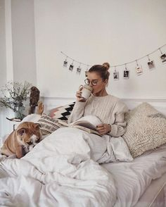 Cozy Winter & Fall Lazy Morning Coffee Cute Dog Don't Wanna Leave This Bed Comfy Blanket Houses Architecture, Studio Decor, Lazy Morning, Morning Coffee, Coffee Break, Morning Bed, Coffee Gif, Coffee In Bed, Coffee Talk