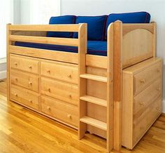 Beds with Dressers Underneath   ... Loft Bed in Natural Finish with Six & Three-Drawer Dressers Underneath