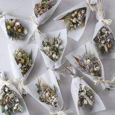 How sweet these little bouquet of dried flowers would look tucked into a Christmas tree, or tied onto a gift. Bunch Of Flowers, Diy Flowers, Paper Flowers, Wedding Flowers, Flower Places, Flower Model, Flower Installation, Dried Flower Arrangements, Dried Flower Bouquet