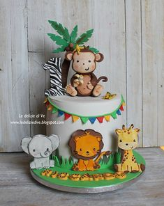 Jungle Birthday Cakes, Jungle Safari Cake, Jungle Theme Cakes, Safari Theme Birthday, Baby Boy 1st Birthday Party, 2nd Birthday Party Themes, Safari Cakes, Camping Theme Cakes, Birthday Cake Decorating
