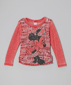 Take a look at this Red Minnie Sketch Hi-Low Top - Girls by Disney on #zulily today!