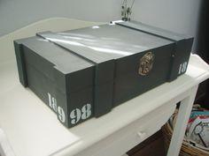 Kistje geschilderd met krijtverf en cijfers er op getamponeerd
