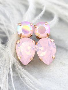Pink Earrings Powder Pink Studs Pink Opal Swarovski by iloniti