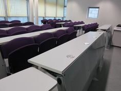 (Electrical outlets at desk) Typical classroom at IESEG School of Management, Paris Campus