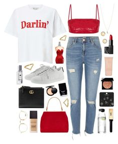 """""""Darlin'"""" by sophiehackett ❤ liked on Polyvore featuring Miss Selfridge, River Island, Rasario, Jean-Paul Gaultier, Laura Mercier, Minor Obsessions, Ray-Ban, Gucci, Yves Saint Laurent and Butter London"""