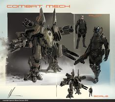 combat mech concept by neisbeis, future warrior, robot, mecha, sci-fi… Futuristic Robot, Futuristic Armour, Concept Art World, Robot Concept Art, Armor Concept, Science Fiction, Arte Ninja, Sci Fi Armor, Future Soldier