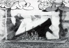 """Under feet of Smurfs the first photograph and the last battleship of WWII are seen in their appropriate temporal clarity.  Image 11.5""""x8.5"""" Acid free ink on 11x14"""" Bristol paper. 2016"""
