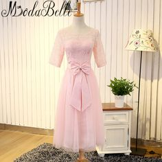 >> Click to Buy << Modabelle Pink Bridesmaid Dresses Boho Short Half Sleeve Ladies Wedding Party Dress Maid Of Honor Robes De Demoiselle D'honneur #Affiliate