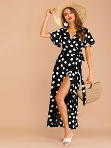 To find out about the Polka Dot Wrap Knot Side Dress at SHEIN, part of our latest Dresses ready to shop online today! V Neck Dress, Dress P, Dress Outfits, Wrap Dress, Dress Link, Dress Clothes, Shift Dresses, Maxi Dresses, Polka Dot Fabric