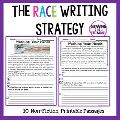 The Race Writing Strategy Passages Races Writing Strategy, Race Writing, 3rd Grade Writing, Writing Strategies, Writing Ideas, School Fun, School Days, Reading Boards, Teaching Resume