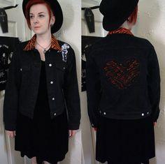 Upcycled DIY Black Denim Psychobilly Jacket Tiger by CoffinKitsch, $30.00