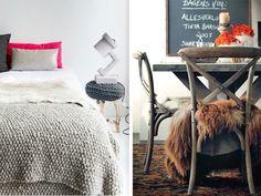 Bettüberwurf Fell-weiß Rustikale-Esszimmer Stühle-Fell-braun Sitz-decke