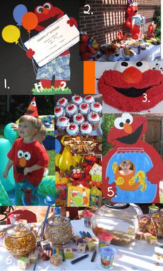 NOAH's third Bday--for Amanda! (He probably wont like Elmo by then, but there are some super cute ideas here! 2nd Birthday Party Themes, Monster Birthday Parties, Party Themes For Boys, Elmo Party, Elmo Birthday, First Birthday Parties, Birthday Ideas, Kid Parties, Sesame Street Party